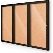 "Balt® Outdoor Enclosed Bulletin Board Cabinet,3-Door 72""W x 48""H, Coffee Trim, Natural Cork"