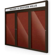 "Balt® Outdoor Headline Bulletin Board Cabinet,3-Door 72""W x 48""H, Coffee Trim, Burgundy"