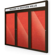 "Balt® Outdoor Headline Bulletin Board Cabinet,3-Door 72""W x 48""H, Coffee Trim, Strawberry"