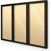 """Balt® Indoor Enclosed Bulletin Board Cabinet,3-Door 96""""W x 48""""H, Coffee Trim, Yellow Bouquet"""