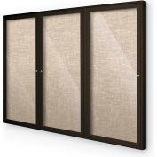 "Balt® Indoor Enclosed Bulletin Board Cabinet,3-Door 96""W x 48""H, Coffee Trim, Cotton"