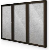 "Balt® Indoor Enclosed Bulletin Board Cabinet,3-Door 96""W x 48""H, Coffee Trim, Platinum"
