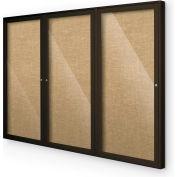"Balt® Indoor Enclosed Bulletin Board Cabinet,3-Door 96""W x 48""H, Coffee Trim, Natural"
