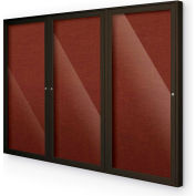 "Balt® Outdoor Enclosed Bulletin Board Cabinet,3-Door 96""W x 48""H, Coffee Trim, Burgundy"