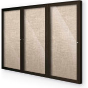 "Balt® Outdoor Enclosed Bulletin Board Cabinet,3-Door 96""W x 48""H, Coffee Trim, Cotton"