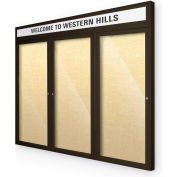 "Balt® Outdoor Headline Bulletin Board Cabinet,3-Dr 96""W x 48""H, Coffee Trim, Yel. Bouquet"