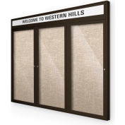 "Balt® Outdoor Headline Bulletin Board Cabinet,3-Door 96""W x 48""H, Coffee Trim, Cotton"