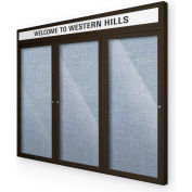 "Balt® Outdoor Headline Bulletin Board Cabinet,3-Door 96""W x 48""H, Coffee Trim, Pac. Blue"
