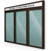 "Balt® Outdoor Headline Bulletin Board Cabinet,3-Door 96""W x 48""H, Coffee Trim, Teal Green"