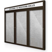 "Balt® Outdoor Headline Bulletin Board Cabinet,3-Door 96""W x 48""H, Coffee Trim, Platinum"