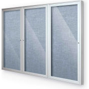 "Balt® Indoor Enclosed Bulletin Board Cabinet,3-Door 72""W x 36""H, Silver Trim, Pacific Blue"