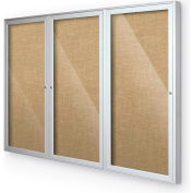 "Balt® Indoor Enclosed Bulletin Board Cabinet,3-Door 72""W x 36""H, Silver Trim, Natural"