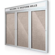 "Balt® Outdoor Headline Bulletin Board Cabinet,3-Door 72""W x 36""H, Silver Trim, Gray"