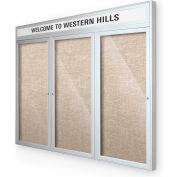 "Balt® Outdoor Headline Bulletin Board Cabinet,3-Door 72""W x 36""H, Silver Trim, Cotton"
