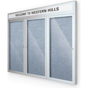 "Balt® Outdoor Headline Bulletin Board Cabinet,3-Door 72""W x 36""H, Silver Trim, Pac. Blue"