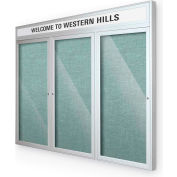 "Balt® Outdoor Headline Bulletin Board Cabinet,3-Door 72""W x 36""H, Silver Trim, Teal Green"