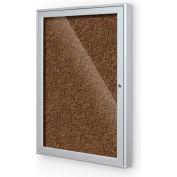 "Balt® 1 Door Enclosed Tan Rubber-Tak Bulletin Board Silver Frame - 24""W x 36""H"