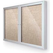 "Balt® Outdoor Enclosed Bulletin Board Cabinet,2-Door 48""W x 36""H, Silver Trim, Cotton"
