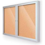 "Balt® Indoor Enclosed Bulletin Board Cabinet,2-Door 60""W x 36""H, Silver Trim, Natural Cork"