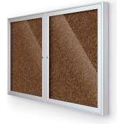 "Balt® 2 Door Enclosed Tan Rubber-Tak Bulletin Board Silver Frame - 60""W x 36""H"
