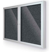 "BaltĒ Enclosed Bulletin Board - 2 Door - Black Rubber - Silver Aluminum Frame - 60""W x 36""H"