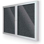 "Balt® 2 Door Enclosed Black Rubber-Tak Bulletin Board Silver Frame - 60""W x 36""H"