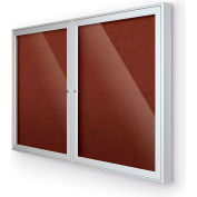 "Balt® Outdoor Enclosed Bulletin Board Cabinet,2-Door 60""W x 36""H, Silver Trim, Burgundy"