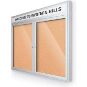 "Balt® Outdoor Headline Bulletin Board Cabinet,2-Door 60""W x 36""H, Silver Trim, Nat. Cork"