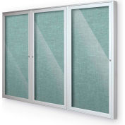 "Balt® Indoor Enclosed Bulletin Board Cabinet,3-Door 72""W x 48""H, Silver Trim, Teal Green"
