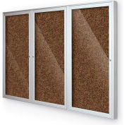 "BaltĒ Enclosed Bulletin Board - 3 Door - Tan Rubber - Silver Aluminum Frame - 96""W x 48""H"