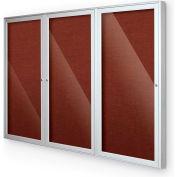"Balt® Outdoor Enclosed Bulletin Board Cabinet,3-Door 72""W x 48""H, Silver Trim, Burgundy"