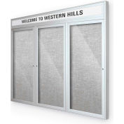 "Balt® Outdoor Headline Bulletin Board Cabinet,3-Door 72""W x 48""H, Silver Trim, Platinum"