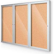 "Balt® Indoor Enclosed Bulletin Board Cabinet,3-Door 96""W x 48""H, Silver Trim, Natural Cork"