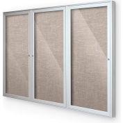 "Balt® Indoor Enclosed Bulletin Board Cabinet,3-Door 96""W x 48""H, Silver Trim, Gray"