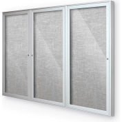 "Balt® Indoor Enclosed Bulletin Board Cabinet,3-Door 96""W x 48""H, Silver Trim, Platinum"