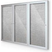 "Balt® Indoor Enclosed Bulletin Board Cabinet,3-Door 96""W x 48""H, Silver Trim, Platinum"