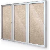 "Balt® Outdoor Enclosed Bulletin Board Cabinet,3-Door 96""W x 48""H, Silver Trim, Cotton"