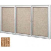 "Balt® Outdoor Enclosed Bulletin Board Cabinet,3-Door 96""W x 48""H, Silver Trim, Natural"