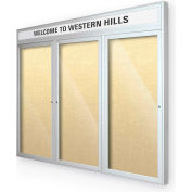 "Balt® Outdoor Headline Bulletin Board Cabinet,3-Dr 96""W x 48""H, Silver Trim, Yel. Bouquet"