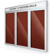 "Balt® Outdoor Headline Bulletin Board Cabinet,3-Door 96""W x 48""H, Silver Trim, Burgundy"
