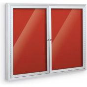 "Balt® Deluxe Bulletin Board Cabinet with 2 Hinged Doors 46""W x 34""H, Crimson"