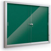 """Balt® Deluxe Bulletin Board Cabinet with 2 Sliding Doors 46""""W x 34""""H, Spruce"""