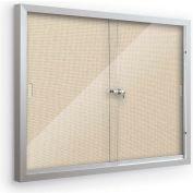 "Balt® Deluxe Bulletin Board Cabinet with 2 Sliding Doors 46""W x 34""H, Nutmeg"