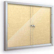 """Balt® Deluxe Bulletin Board Cabinet with 2 Sliding Doors 46""""W x 34""""H, Yellow Bouquet"""