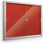 "Balt® Deluxe Bulletin Board Cabinet with 2 Sliding Doors 46""W x 34""H, Crimson"