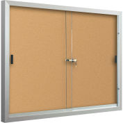 "Balt® Deluxe Enclosed Bulletin - 2 Sliding Doors - Cork - Silver Aluminum Frame - 72""W x 48""H"