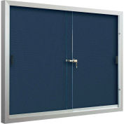 "Balt® Deluxe Bulletin Board Cabinet,with 2 Sliding Doors 72""W x 48""H, Indigo"