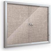 "Balt® Deluxe Bulletin Board Cabinet,with 2 Sliding Doors 72""W x 48""H, Gray"