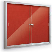 "Balt® Deluxe Bulletin Board Cabinet,with 2 Sliding Doors 72""W x 48""H, Crimson"