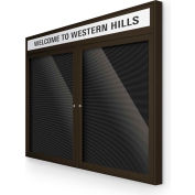 "Balt® Outdoor Headline Letter Board Cabinet with 2 Hinged Doors 48""W x 42""H Coffee"